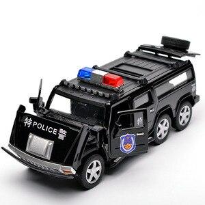 Image 1 - 1:32 6 륜 험머 합금 경찰 오프로드 모델 장난감 자동차 사운드 라이트 당겨 전차 완구 어린이를위한 자동차