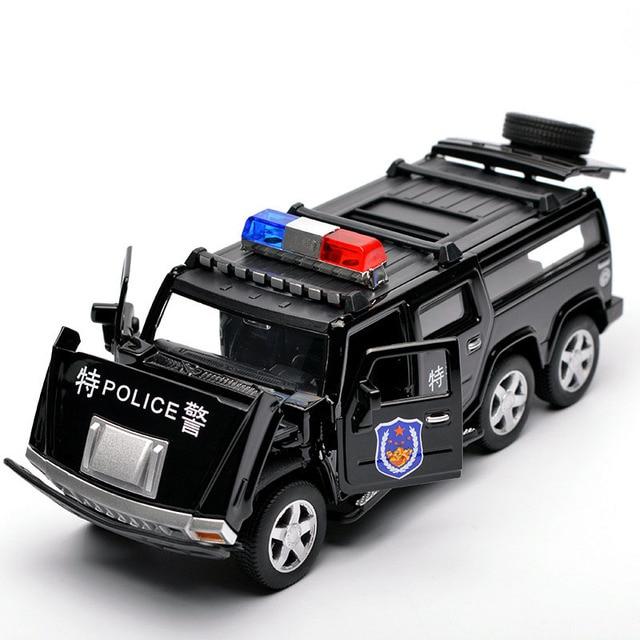 1:32 6 륜 험머 합금 경찰 오프로드 모델 장난감 자동차 사운드 라이트 당겨 전차 완구 어린이를위한 자동차