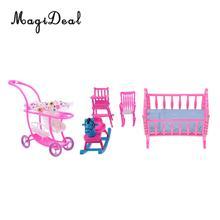 Plastic Cradle Baby Chair Rocking Horse Stroller Model For Barbie Kelly Doll Bedroom Decoration