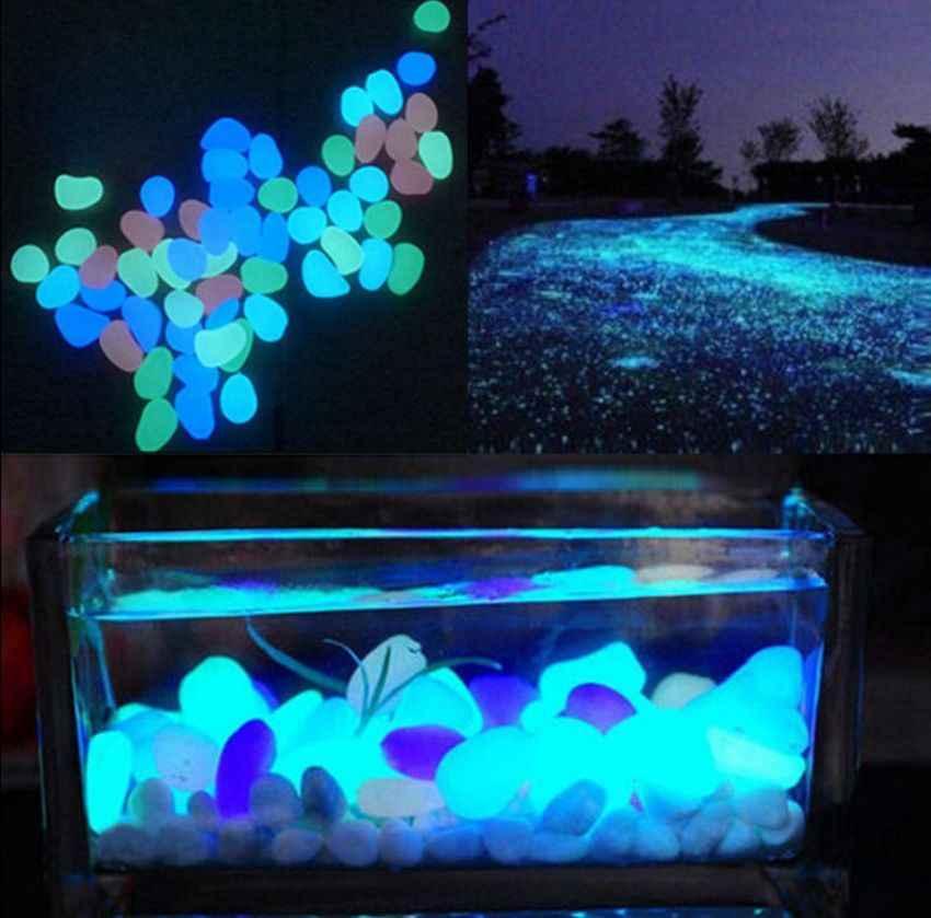 10 個ダーク石ガーデン水槽水族館の装飾のための発光小石歩道庭カジュアルパーティーの装飾 3