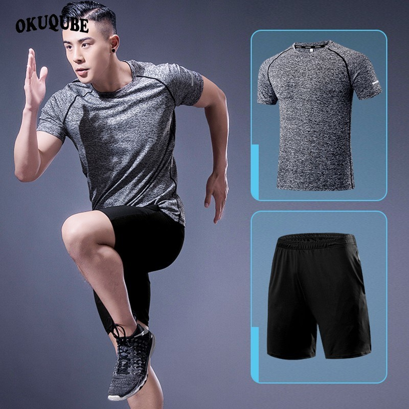 Men Sportswear Two Pieces Polyester Tracksuit Man Breathable Quick Dry Gym Clothing Elastic Jogging Fitness Running Clothes Set