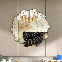 Panana New Stylish Antique Bathroom Venetian Wall Mirror Livingroom Console Decorative Round Mirrors Wall Mounted 90cm