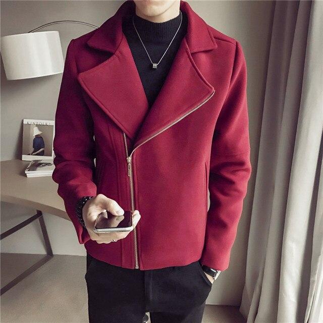 2019 windbreaker men's winter new Korean version of the trend woolen coat handsome student black lapel woolen coat