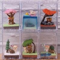 Rilakkuma Seasonal Terrarium Lovely Cute Figure PVC Collectible Model Toy Doll 6pcs/set