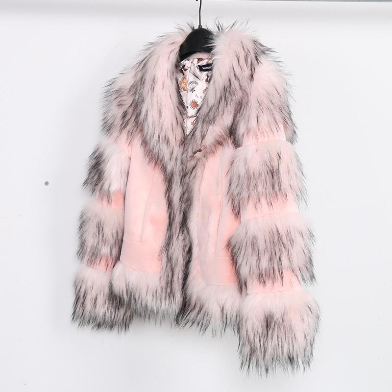 Nerazzurri pink faux fur jacket women 2019 winter furry patchwork fur coat kawaii short plus size
