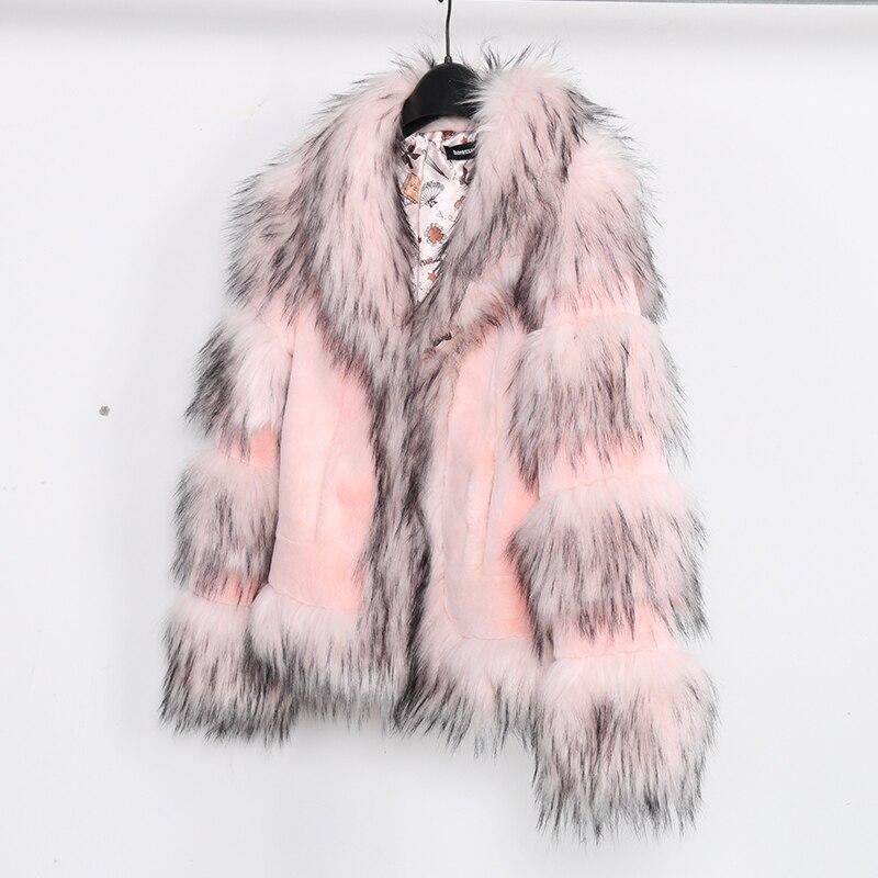 Nerazzurri różowy faux fur coat kurtki kobiety 2019 zima furry patchwork futro płaszcz kawaii krótki plus rozmiar puszyste przycięte kurtka ze sztucznego futra w Sztuczne futro od Odzież damska na  Grupa 1