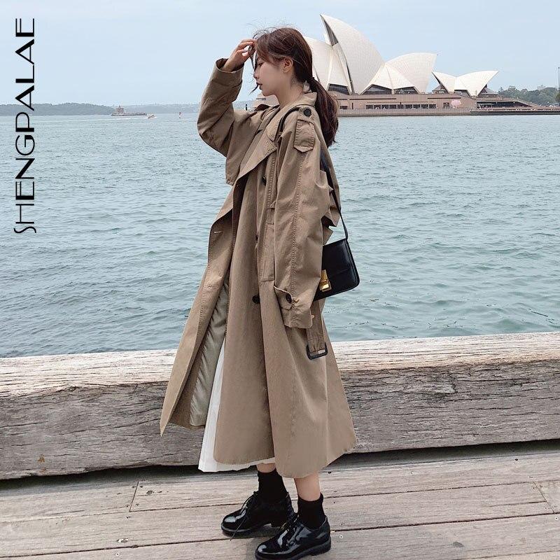 Longues Coran Kaki Blousons Couleur De Col 2019 Lâche Vestes Khaki Mode Femmes Shengpalae À Manteau Fl980 down Femelle Solide Turn Manches fv7IYgy6b