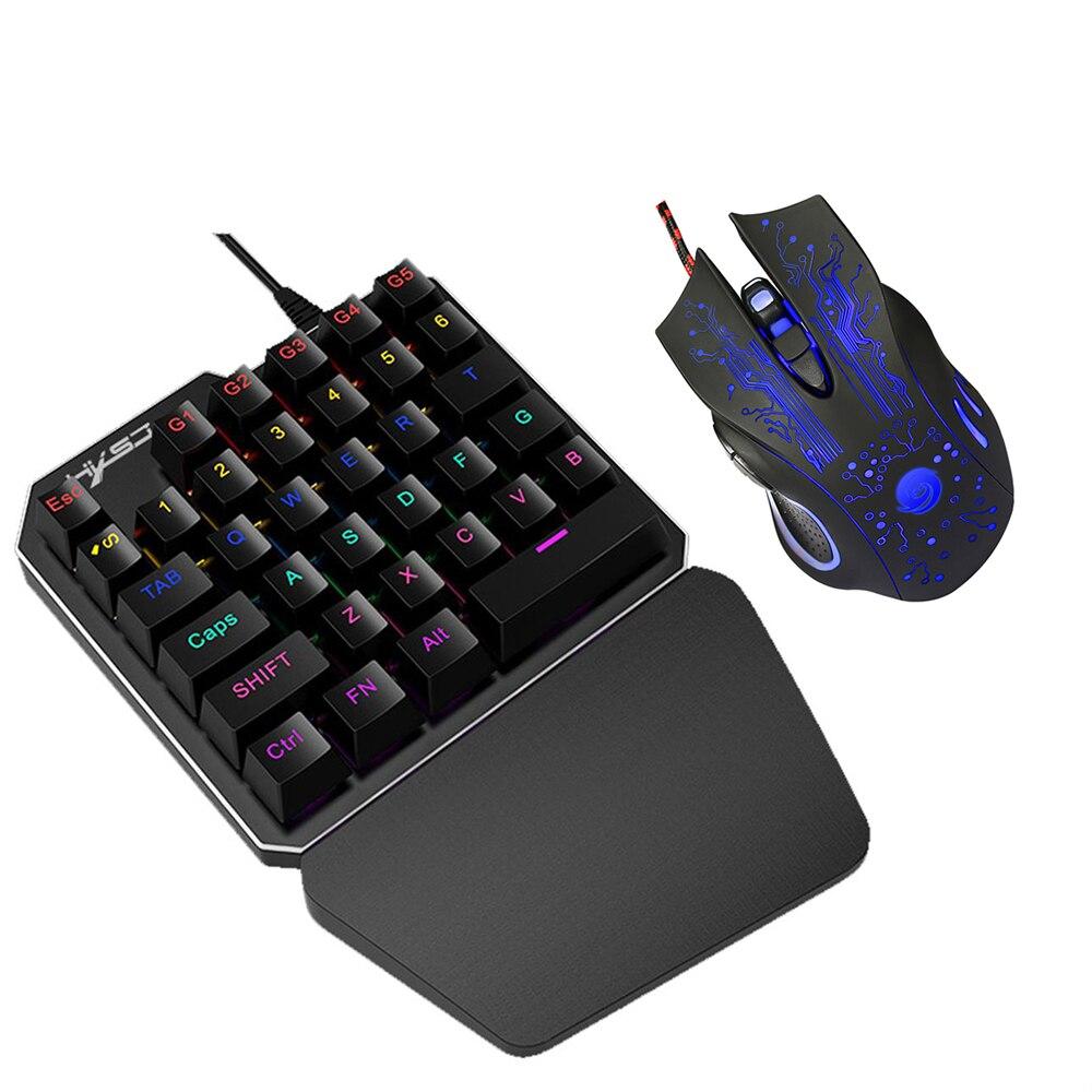 hxsj j100 35 key single hand gaming keyboard usb wired keyboard gaming mouse one single hand. Black Bedroom Furniture Sets. Home Design Ideas