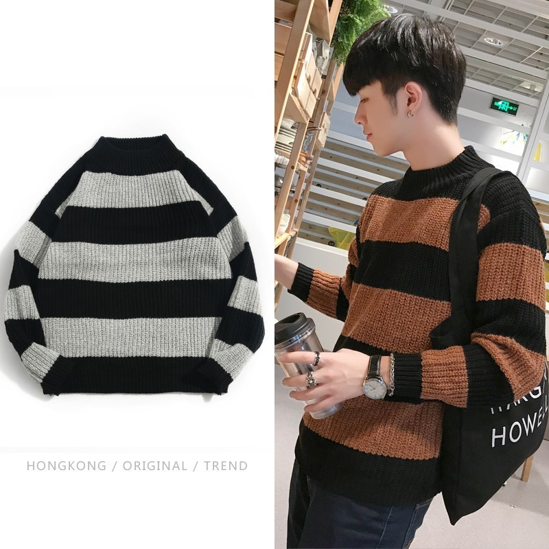 Pullover Men Sweater Knitting Autumn Winter Garment And Lead Hot-Sale New-Pattern Half-High