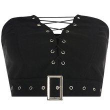 Women Crop Tops Casual Gothic Streetwear Sexy Club Hip Hop Strapless Off Shoulder Slim Plain Summer 2019 Goth Female Black Top
