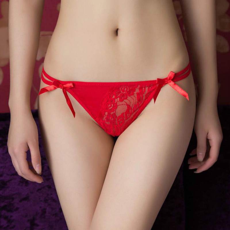Sexy Underwear Women Lady Girl Bowknot Beads Lace Panties Knicker Thong Lingerie Sexy Hot Erotic Sale
