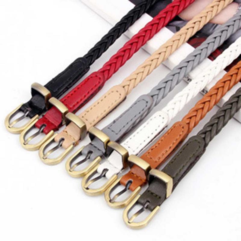Vintage tejido a mano para mujer, nuevo cinturón estilo de colores de caramelo con cuerda de cáñamo de trenza cinturón mujer cinturones vestido Decoración