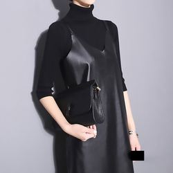 [EAM] 2019 New Spring Summer Strapless Sleeveless Black Pu Leather Loose Brief Dress Women Fashion Tide All-match JO287 2