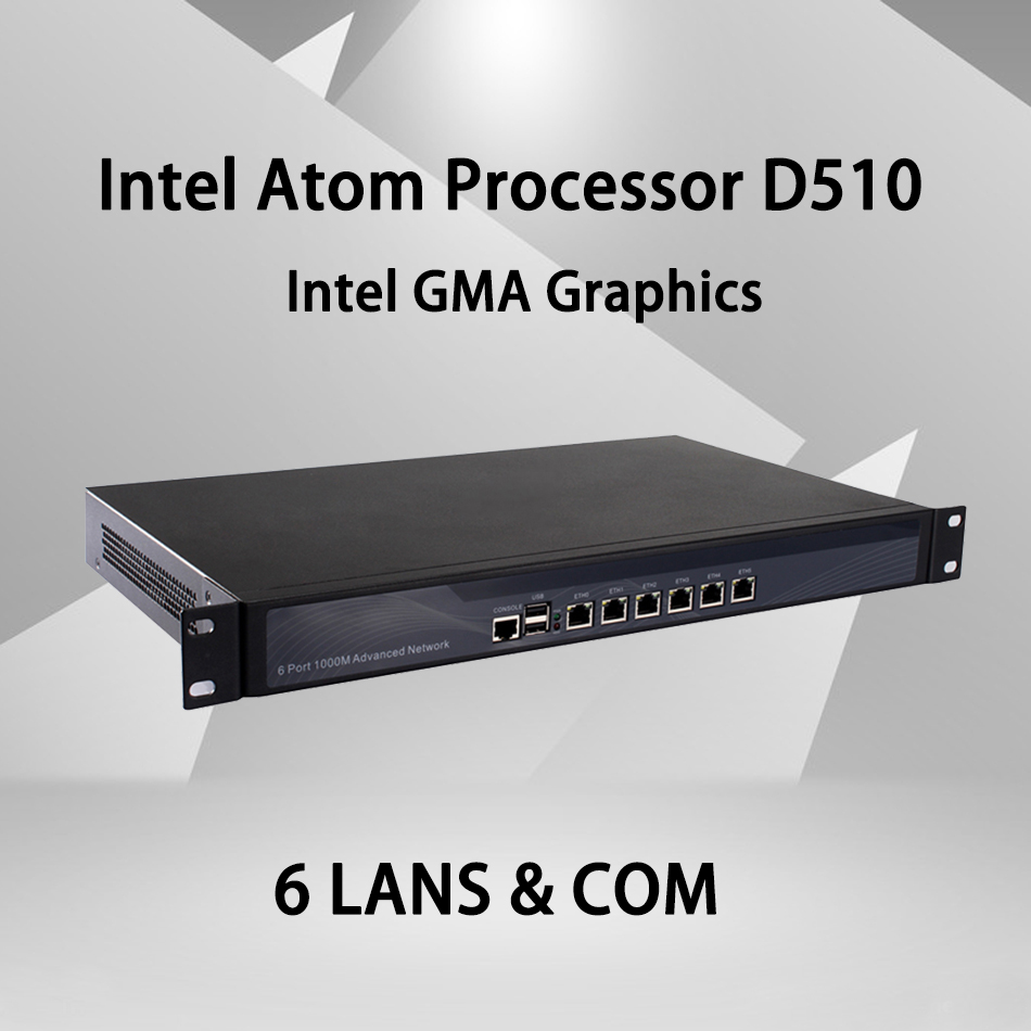 Firewall Mikrotik Pfsense VPN Network Security Appliance Intel Atom D510 Router PC ,[HUNSN SA05R],(6LAN/2USB2.0/1COM/1VGA)