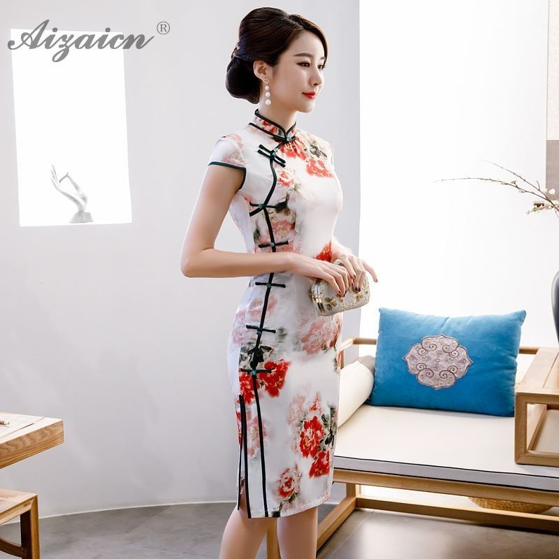 Nouvelle Double couche imprimé Cheongsam longue Slim Vintage robe Style Oriental similaire soie Qi Pao traditionnel chinois robe Qipao