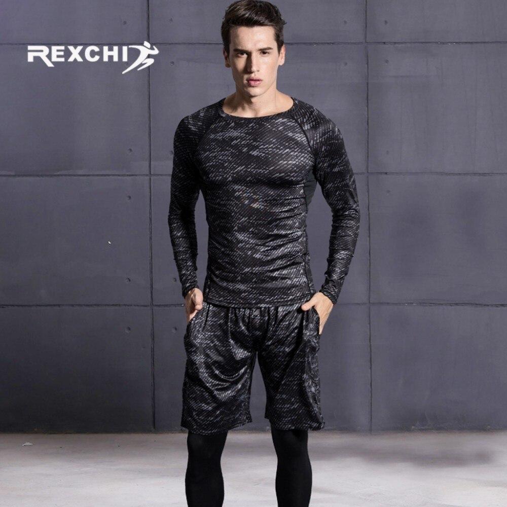 REXCHI 5 pcs/ensemble Hommes de Survêtement costume de Sport Gym Fitness vêtements de compression Courir Jogging Sport Wear Exercice collant d'entraînement - 3