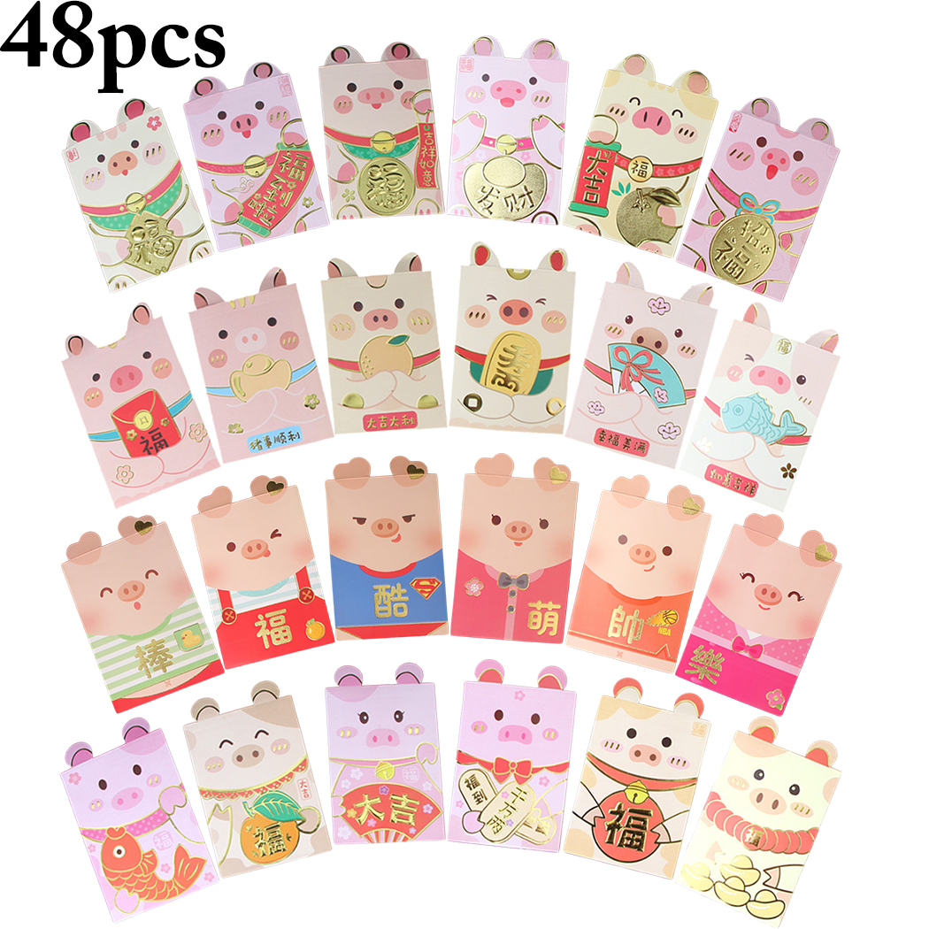 2019 New Year Cute Cartoon Red Bag Creative Personality Pig Shape Red Packet Money Packet For Spring Festival 48 Pcs