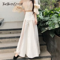 TWOTWINSTYLE Elegant Long Wide Leg Pants High Waist Lace Patchwork Trousers For Women Oversized Fashion 2018 Autumn Large Sizes