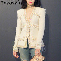 TVVOVVIN Wool Jackets For Women Plus Size Long Sleeve Patchwork Pearls Coat Female Autumn Clothing 2019 Q941