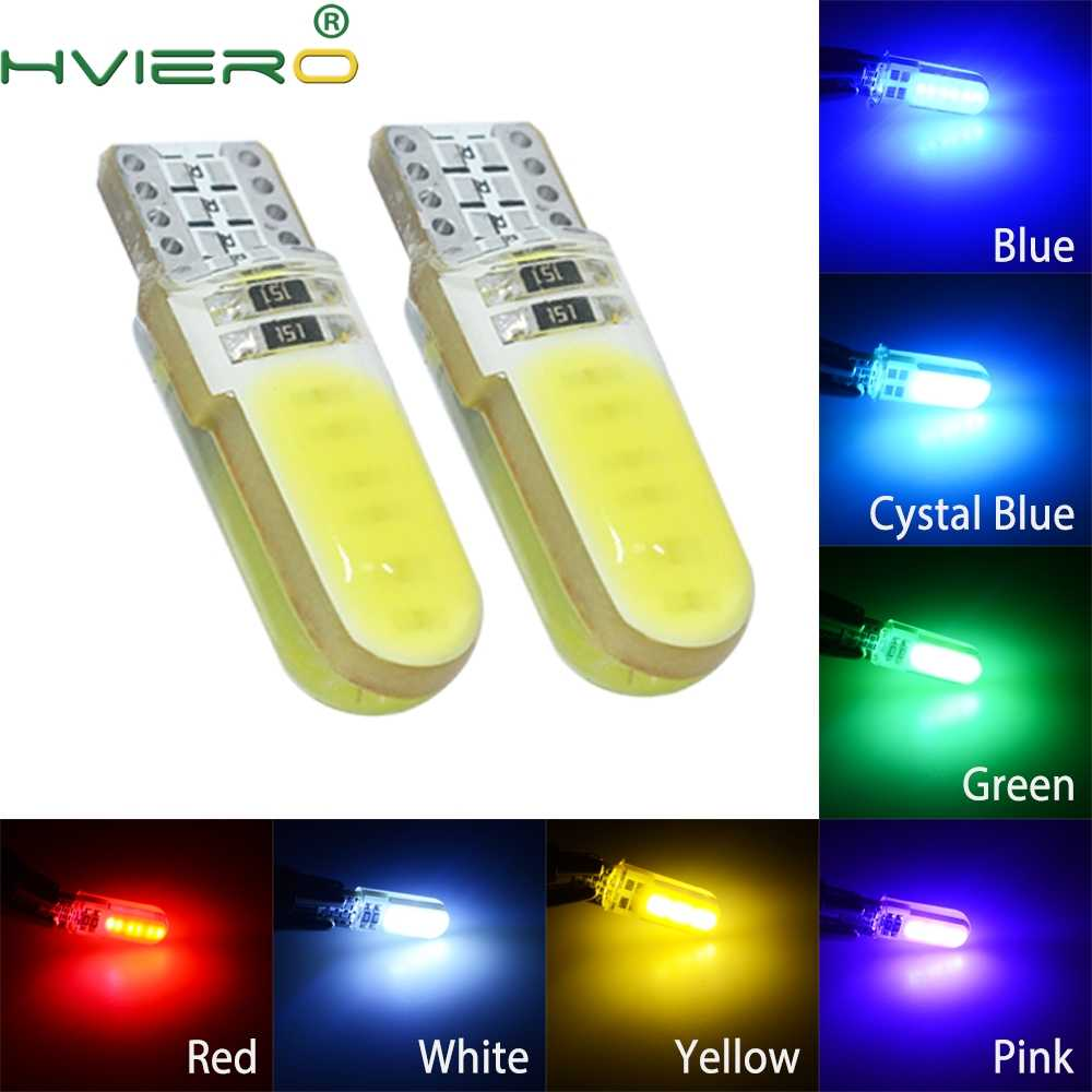 194 2825 WY5W COB Silica gel Waterproof Wedge Light Auto marker light reading dome Lamp Auto parking bulbs 12V Auto Led