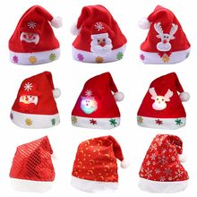 0440a7c7d16d8 1PC 26x33cm Kids Adult LED Christmas Hat Santa Claus Reindeer Snowman Deer Xmas  Gifts Cap New Fashion Chrismas Hats