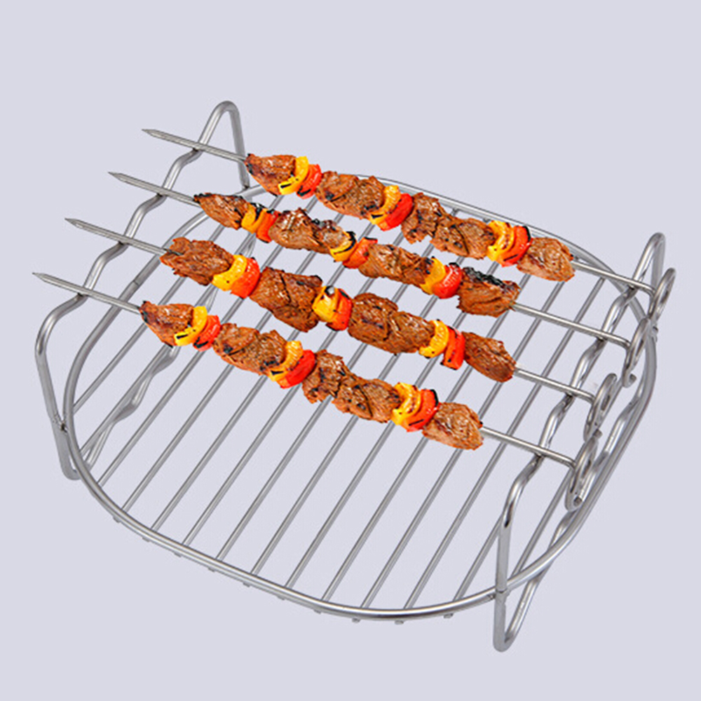 New Stainless steel Replacement BBQ Rack Skewers Double Layer Baking Tray For Philips Air Baking Tray Baking Tray Barbecue Rack