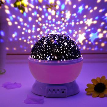 cba191aa6 Luz de noche de bebé con proyector de estrella de música lámpara de mesa  giratoria romántica para niños varios colores para fiesta de interior