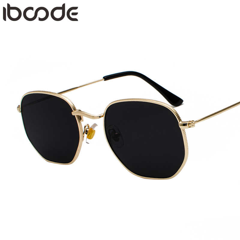 iboode New Vintage Gold Sunglasses Men Square Metal Frame Silver Brown Black Small Sun Glasses Female Unisex Summer Style Shades