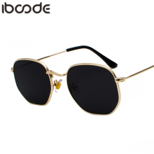 iboode New Vintage Gold Sunglasses Men Square Metal Frame Si