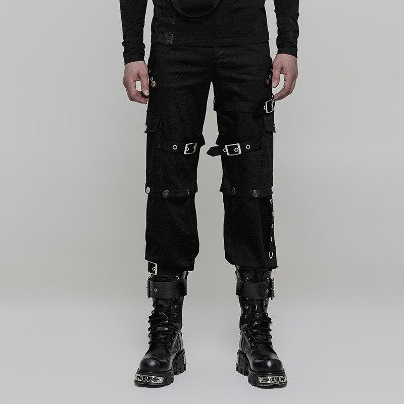 Панк рейв мужские панк военные Яркие Кожаные Брюки для выступлений на сцене костюм панк мотоциклетные красивые мужские брюки - 3
