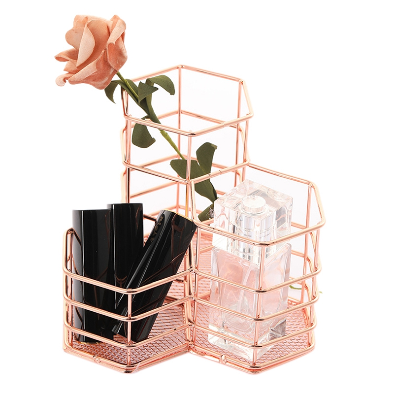 Pen Holder Desk Tidy Hexagon Iron Hollow Makeup Brush Organizer Stationery Storage Container Pencil Marker Pen Holder Rose Gold