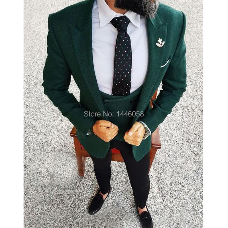 Men Wedding Suits 2018 Elegant 3 Pieces Wedding Dress Wool Dark Green Smoking Tuxedo Jacket Terno Slim Groom Suits For Men