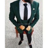 Men Wedding Suits 2018 Elegant 3 Pieces Wedding Dress Wool Dark Green Smoking Tuxedo Jacket Terno Slim Groom Suits For Men