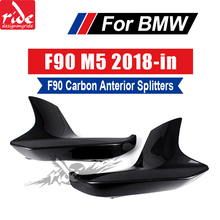 цены For BMW F90 M5 2PCS Carbon Fiber Front Lip Splitters Flap Cupwings For BMW F90 M5 Real Carbon Front Splitters Decoration 2018-in
