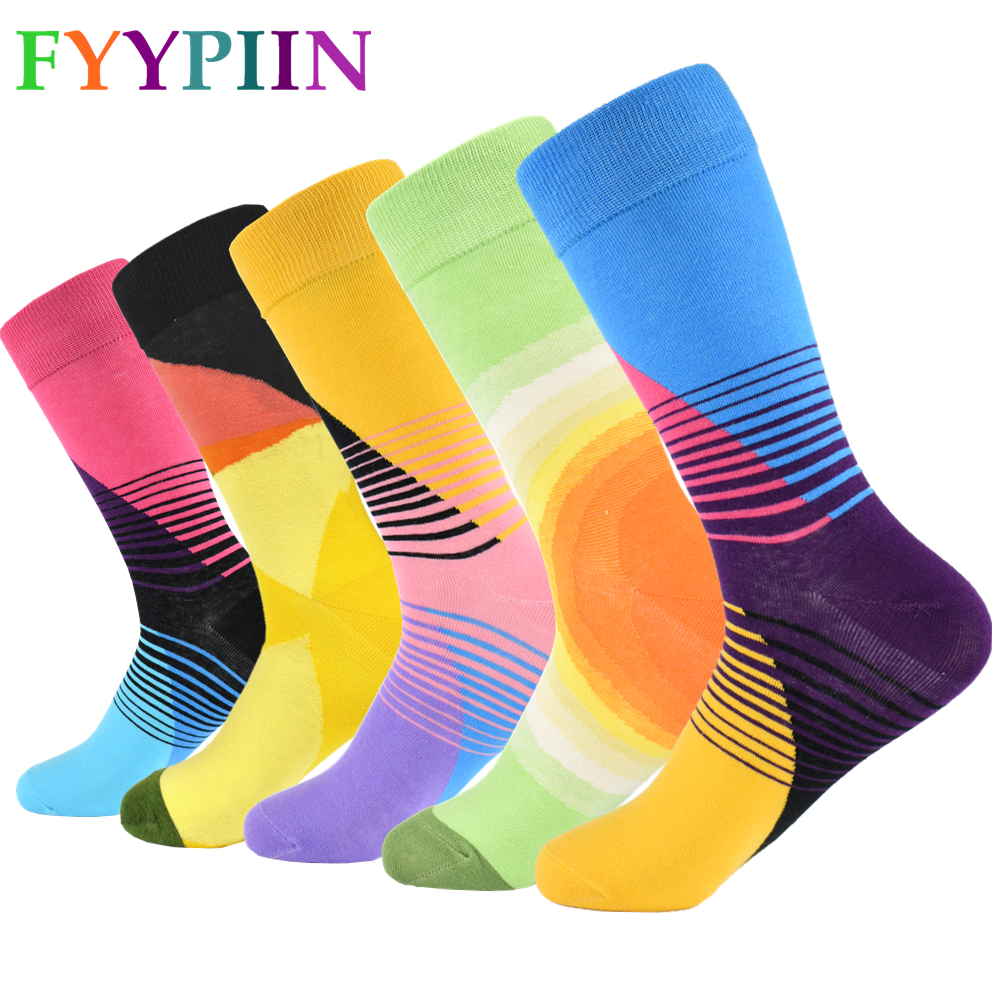 Men Socks 2019 New 5 Pair/lot Men's Cotton Socks Classic Business Casual Geometric Man Crew Party Gift Happy Socks