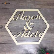 Wedding Sign Personalized Custom Name Hexagonal Style Decor Wooden Hanging Signs Rustic Decoration Wood PhotoBooth Props