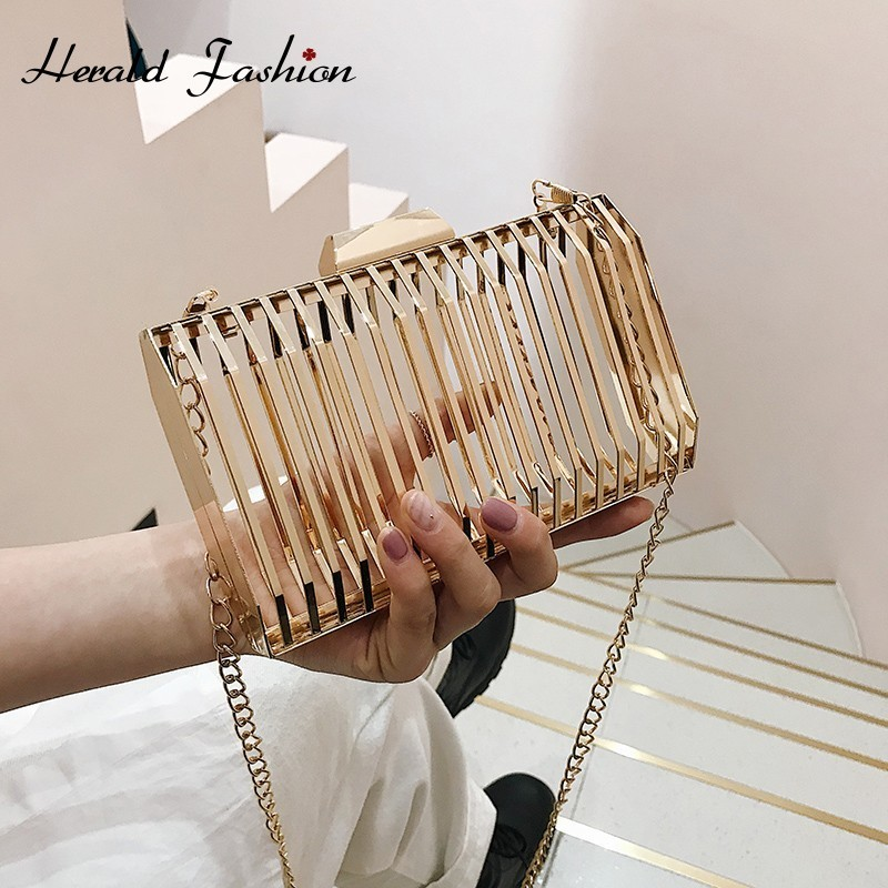 Herald Fashion Metal Hollow Women Shoulder Evening Bag Luxury Golden Grid Chain Messenger Bag Ladies' Daily Crossbody Clutches