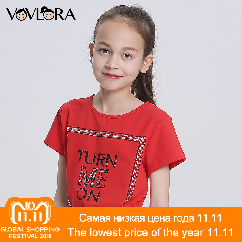 Cotton Print Letter Summer Girls T Shirt Tops Knitted O Neck Solid Kids T Shirts 2018 Children Tees Size 9 10 11 12 13 14 Years