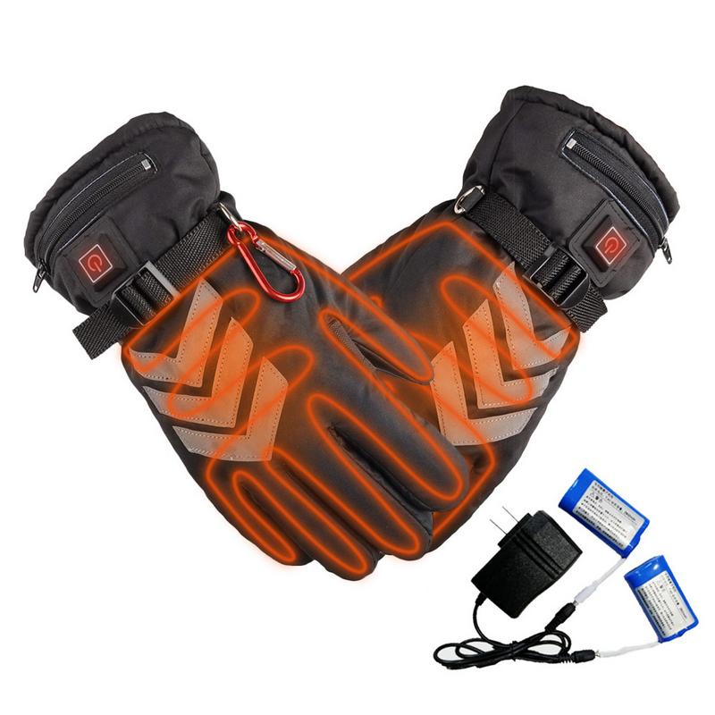 Three Speed Thermostat Electric Heating Reflective Duty Gloves Motorcycle Car Gloves Battery Powered Waterproof Insulated maudio