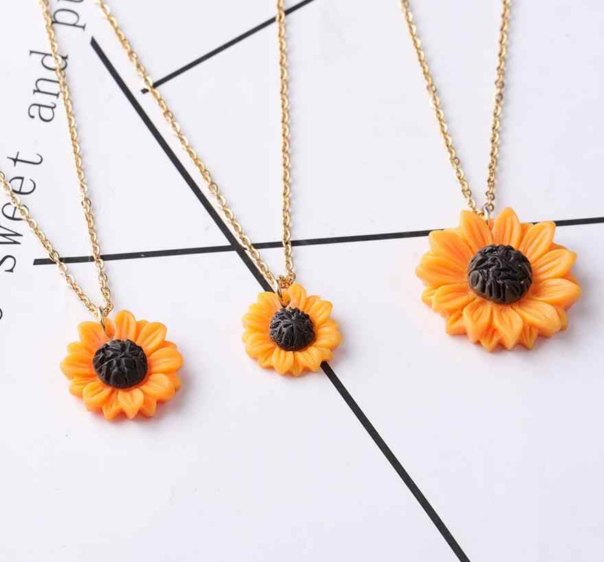 Promotion 12pcs/lot  sunflower necklace Gold Stainless Steel Link Chains Necklaces Fashion Jewelry with sunflower pendant