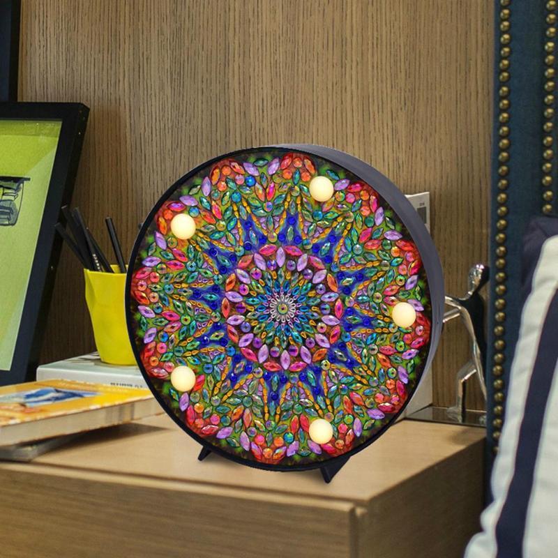 DIY LED Diamond Painting Full Special Shaped Drill Mandala Embroidery Light Diamond Painting Mandala Embroidery Night Decor