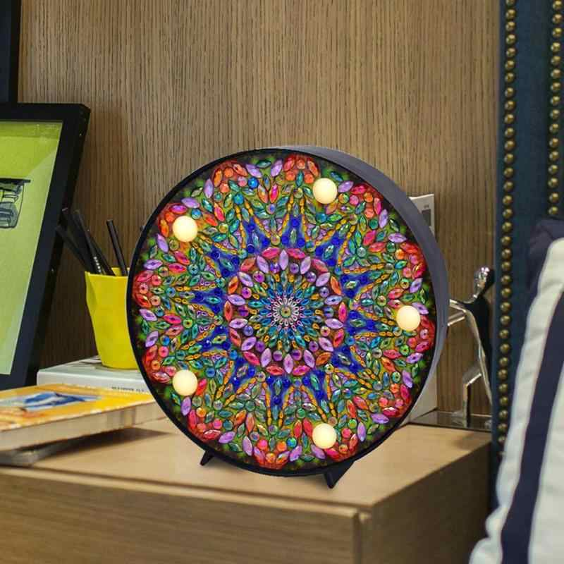 DIY LED Diamond Painting Full Special Shaped Drill Mandala Embroidery Light Diamond Painting Mandala Embroidery Night Decor