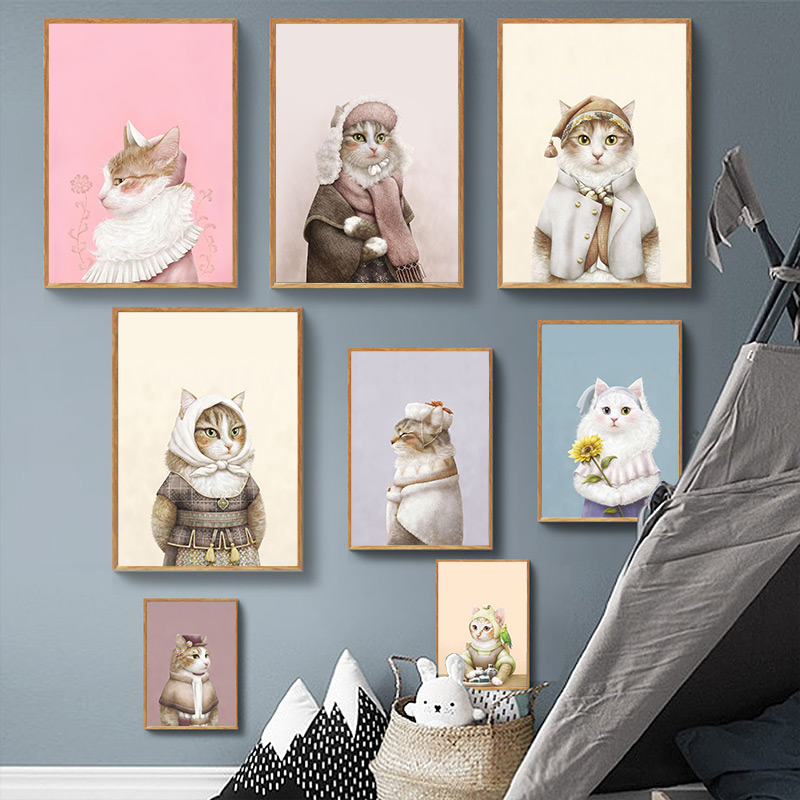 . US  5 02 25  OFF Cute cat Pastel aesthetics pink blue Home Kids Baby living  Room Bedroom Decor Prints Poster Picture Painting Wall Art Canvas in