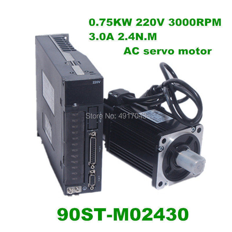220V 750W 90ST M02430 AC Servo motor 3000RPM 2.4 N.M. 0.75KW servomotor Single Phase ac drive permanent magnet Matched Driver