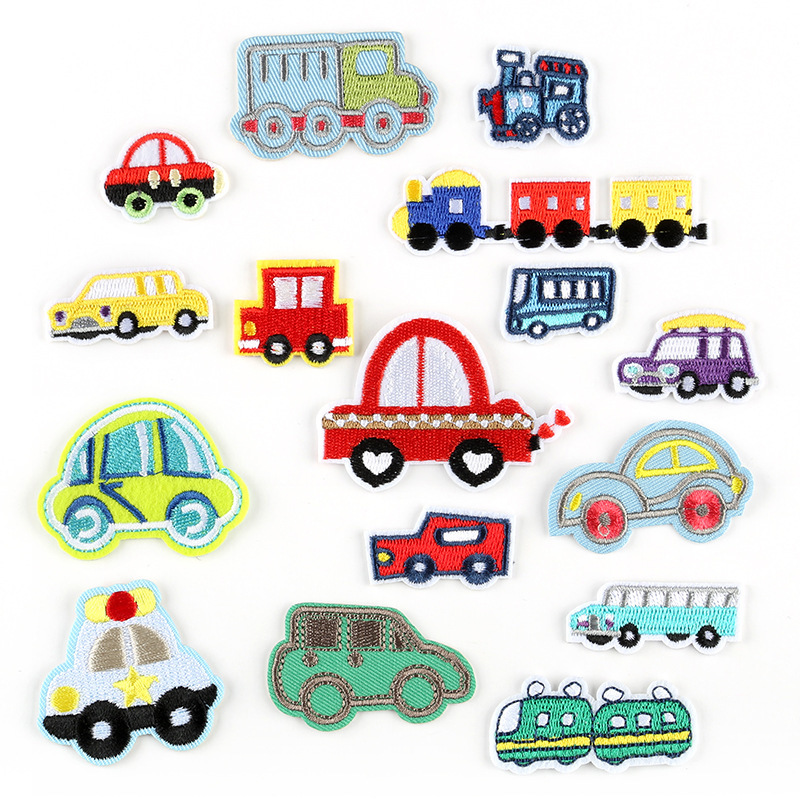 Cartoon Wholesale of Cars <font><b>Bus</b></font> train Sedan <font><b>Patches</b></font> For Clothes Iron On Embroidered Fabric Badges Applique DIY Apparel Accessory image
