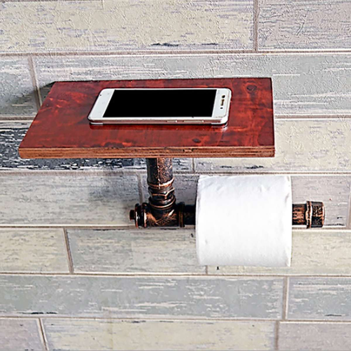 Paper Holders Generous Toilet Paper Holder Metal+wood Kitchen Wc Paper Holder Industrial Retro Wall Mount Metal Pipe Toilet Paper Holder Roller Home Improvement