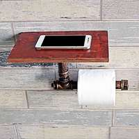 Toilet Paper Holder Metal+Wood Kitchen WC Paper Holder Industrial Retro Wall Mount Metal Pipe Toilet Paper Holder Roller