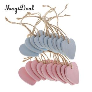 20Pcs Pink & Blue DIY Wooden Hearts Tags Pendants Ornaments Wood Craft Wedding Favors Vintage Home Party Decorations Signs(China)
