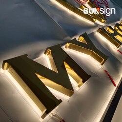 Открытый 3D Водонепроницаемый diy дизайн задняя подсветка светодиодный Золотой буквенные вывески
