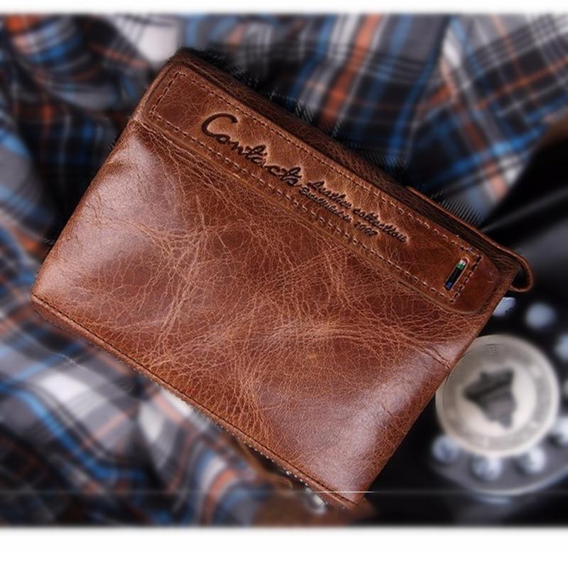 Men's Wallets Genuine Leather Brown Black Wallet Men Women Red Clutch Male Coin Purse Card Holder Money Bags Carteira Feminina